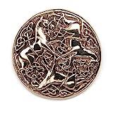 Drachensilber keltische Pferde Brosche Schmuck Bronze Fibel Mittelalter, Durchmesser 4,5cm