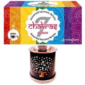 Aromafume Set 7 Chakra mit Baum des Lebens Duftbrenner