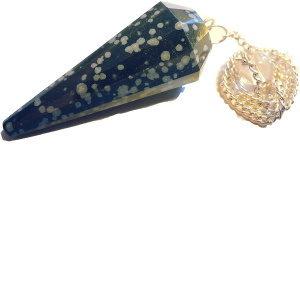 Edelstein Pendel Schneeflocken Obsidian mit Kleinen Flocken