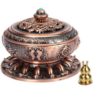 Weihrauchbehälter Mit Räucherstäbchenhalter (Kupferrot)