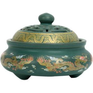Weihrauchbehälter Mit Räucherstäbchenhalter Porzellan grün